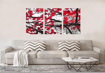Quadro Decorativo Árvore De Folhas Vermelhas 3P Sem Moldura 115x57 Sala Quarto