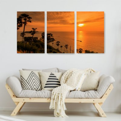 Quadro Decorativo Pôr Do Sol Na Praia 3P Sem Moldura 115x57 Sala Quarto
