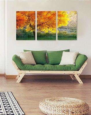 Quadro Decorativo Árvore De Outono No Lago 3P Sem Moldura 115x57 Sala Quarto