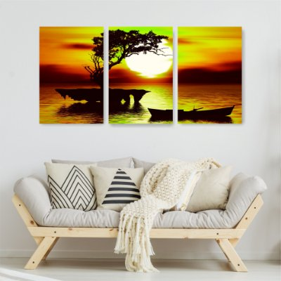 Quadro Decorativo Árvore Sol E Barco 3P Sem Moldura 115x57 Sala Quarto