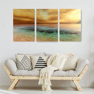 Quadro Decorativo Beira Da Praia 3P Sem Moldura 115x57 Sala Quarto