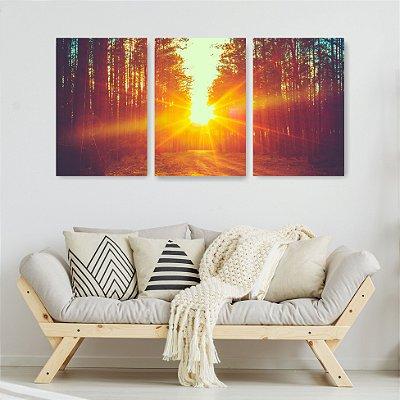 Quadro Decorativo Pôr Do Sol Entre Eucaliptos 3P Sem Moldura 115x57 Sala Quarto