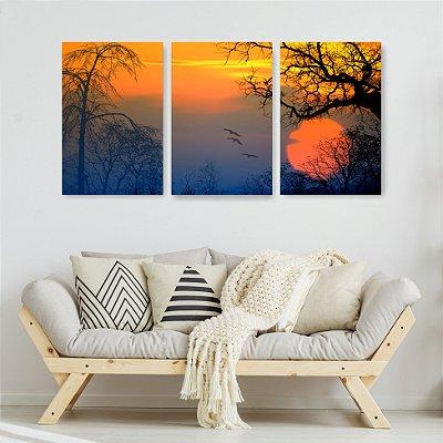 Quadro Decorativo Lindo Sol Vermelho 3P Sem Moldura 115x57 Sala Quarto