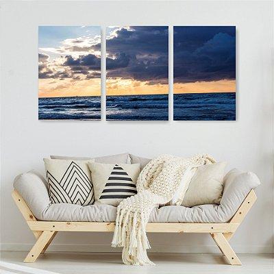 Quadro Decorativo Mar Nuvens 3P Sem Moldura 115x57 Sala Quarto