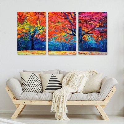 Quadro Decorativo Pintura Árvores De Outono 3P Sem Moldura 115x57 Sala Quarto