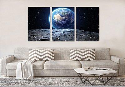 Quadro Decorativo Terra Vista Da Lua 3P Sem Moldura 115x57 Sala Quarto