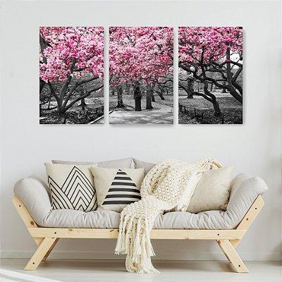 Quadro Decorativo Árvores De Flores Rosa 3P Sem Moldura 115x57 Sala Quarto