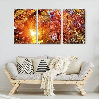 Quadro Decorativo Raios De Sol 3P Sem Moldura 115x57 Sala Quarto