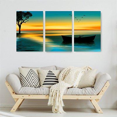 Quadro Decorativo Barco E Árvore Na Noite 3P Sem Moldura 115x57 Sala Quarto