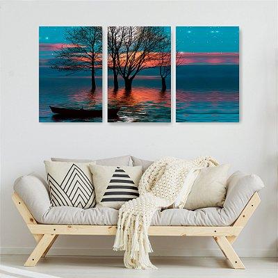Quadro Decorativo Árvore Lua E Barco 3P Sem Moldura 115x57 Sala Quarto