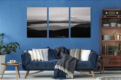 Quadro Decorativo Montanha E Lago Com Nevoa 3P Sem Moldura 115x57 Sala Quarto