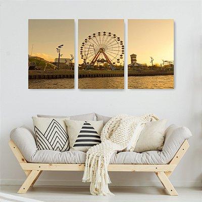 Quadro Decorativo Roda Gigante 3P Sem Moldura 115x57 Sala Quarto