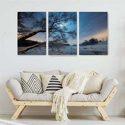 Quadro Decorativo Noite Com Neve Na Árvore 3P Sem Moldura 115x57 Sala Quarto
