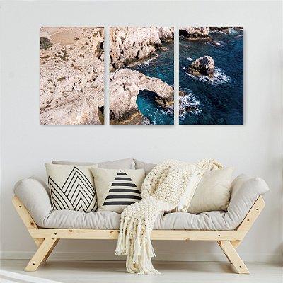 Quadro Decorativo Pedreira E Mar Azul 3P Sem Moldura 115x57 Sala Quarto