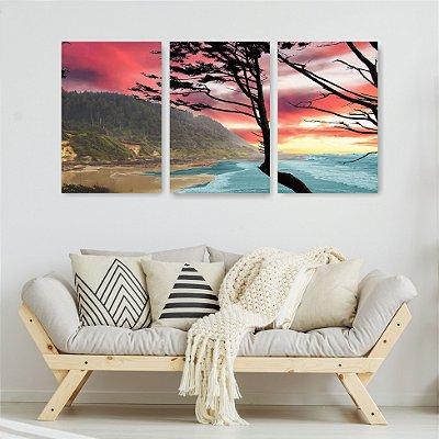 Quadro Decorativo Árvore Alto Mar 3P Sem Moldura 115x57 Sala Quarto