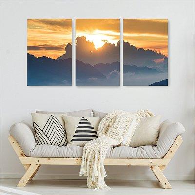 Quadro Decorativo Sol Nas Nuvens 3P Sem Moldura 115x57 Sala Quarto