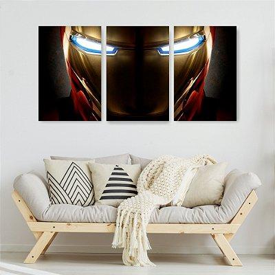 Quadro Decorativo Homem De Ferro Rosto 3P Sem Moldura 115x57 Sala Quarto