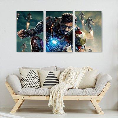 Quadro Decorativo Homem De Ferro Robôs 3P Sem Moldura 115x57 Sala Quarto