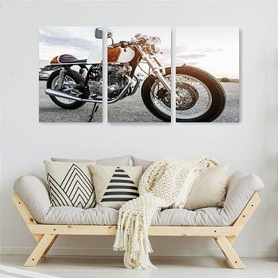 Quadro Decorativo Moto Relíquia 3P Sem Moldura 115x57 Sala Quarto