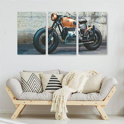 Quadro Decorativo Moto Laranja Relíquia 3P Sem Moldura 115x57 Sala Quarto