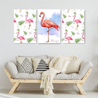Quadro Decorativo Flamingos 3P Sem Moldura 115x57 Sala Quarto