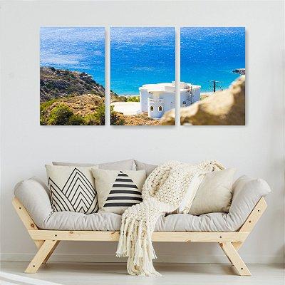 Quadro Decorativo Casa De Praia Grécia 3P Sem Moldura 115x57 Sala Quarto