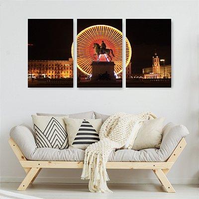 Quadro Decorativo Roda Gigante Napoleão 3P Sem Moldura 115x57 Sala Quarto