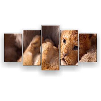 Quadro Decorativo Simba No Colo 129x61 5pc Sala