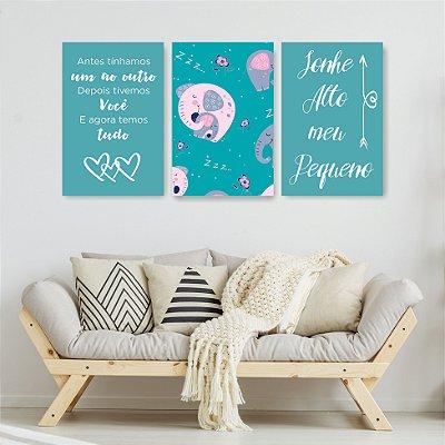 Quadro Decorativo Sonhe Alto Meu Pequeno 3P Sem Moldura 115x57 Sala Quarto