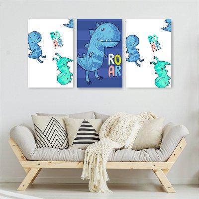 Quadro Decorativo Dino Azul 3P Sem Moldura 115x57 Sala Quarto