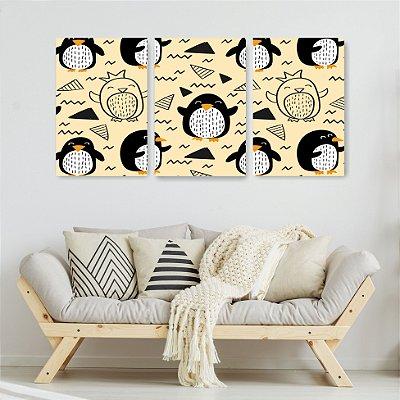Quadro Decorativo Príncipe Pinguim 3P Sem Moldura 115x57 Sala Quarto