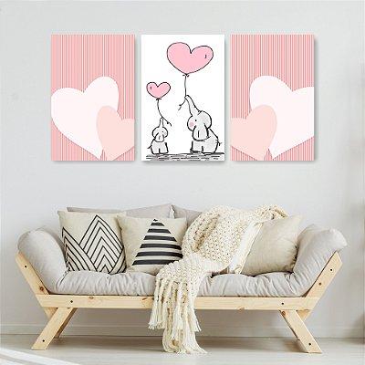 Quadro Decorativo Mamãe e Filha elefantes 3P Sem Moldura 115x57 Sala Quarto