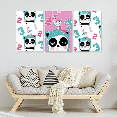 Quadro Decorativo Panda Números 3P Sem Moldura 115x57 Sala Quarto