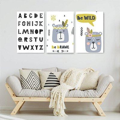 Quadro Decorativo Ursinho Montessori 3P Sem Moldura 115x57 Sala Quarto