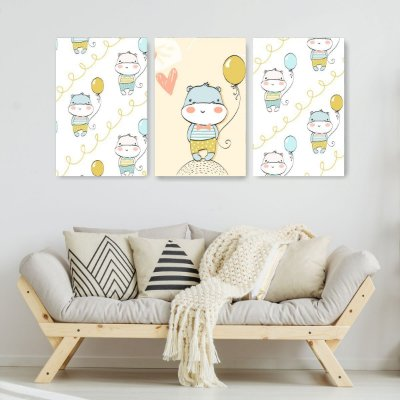 Quadro Decorativo Hipopotamo Com Balão 3P Sem Moldura 115x57 Sala Quarto