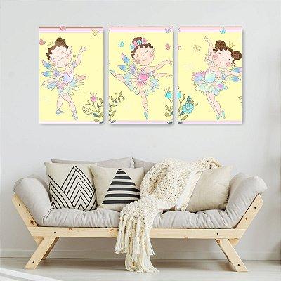Quadro Decorativo Bailarinas 3P Sem Moldura 115x57 Sala Quarto