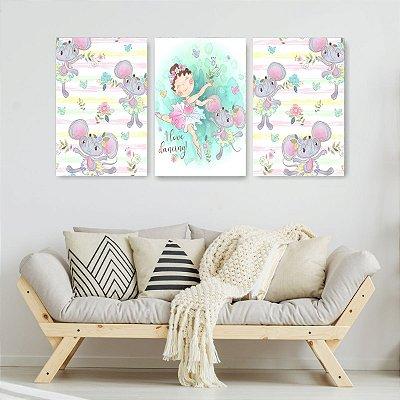 Quadro Decorativo Ratinha e Bailarina 3P Sem Moldura 115x57 Sala Quarto