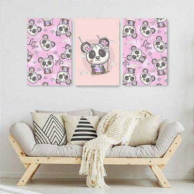 Quadro Decorativo Panda Balanço 3P Sem Moldura 115x57 Sala Quarto