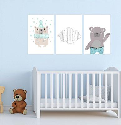 Quadro Decorativo Trio Urso Montessoriano 3P Sem Moldura 115x57 Sala Quarto