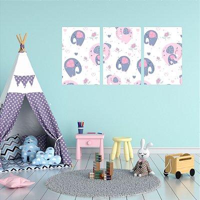 Quadro Decorativo Elefante Branco e Rosa 3P Sem Moldura 115x57 Sala Quarto