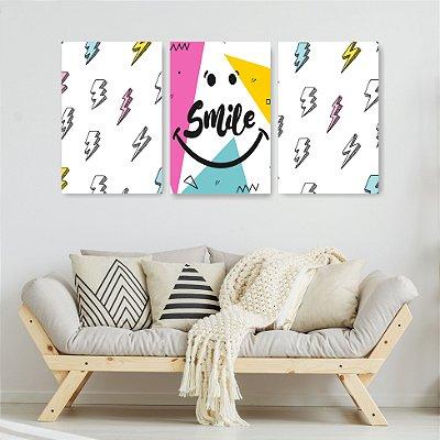 Quadro Decorativo Smile 3P Sem Moldura 115x57 Sala Quarto