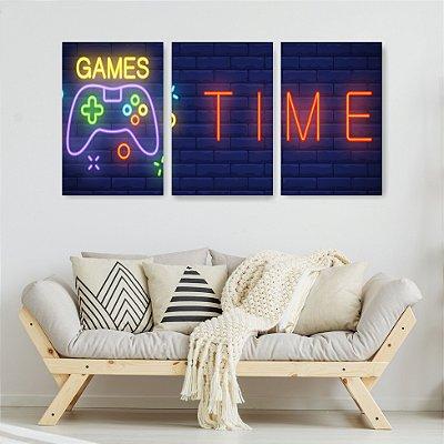 Quadro Decorativo Time Game 3P Sem Moldura 115x57 Sala Quarto