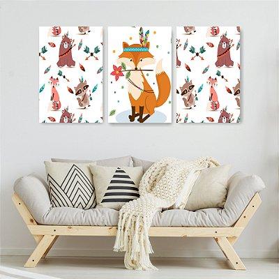 Quadro Decorativo Fox Índia 3P Sem Moldura 115x57 Sala Quarto