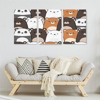 Quadro Decorativo Urso Sem Curso 3P Sem Moldura 115x57 Sala Quarto