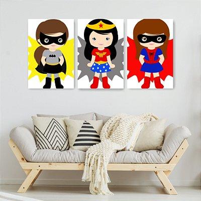 Quadro Decorativo Super Heroínas 3P Sem Moldura 115x57 Sala Quarto