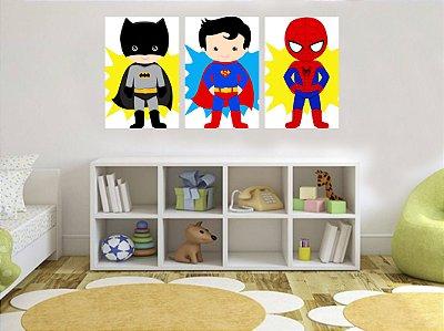 Quadro Decorativo Super Heróis 3P Sem Moldura 115x57 Sala Quarto
