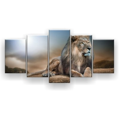 Quadro Decorativo Leão Dourado 129x61 5pc Sala