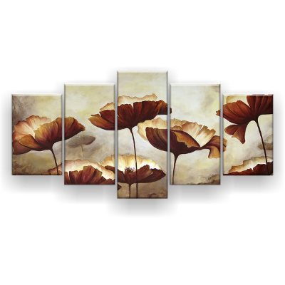 Quadro Decorativo Papoulas Aquarela 129x61 5pc