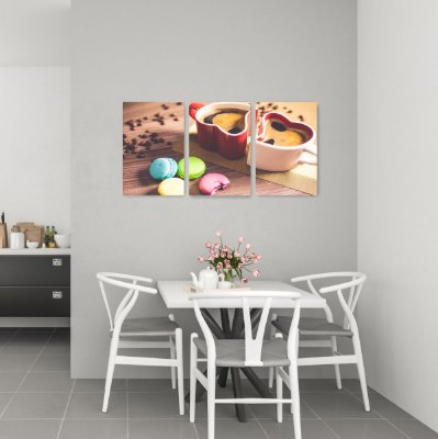 Quadro Decorativo Café Macarons 3P Sem Moldura 115x57 Sala Quarto