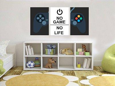 Quadro Decorativo No Game No Life 3P Sem Moldura 115x57 Sala Quarto